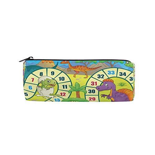 re lustige Tier Cartoon Dinosaurier Brettspiel Bleistift Taschen Runde tragbare Tasche für Schule Kinder Kinder Kosmetiktasche Make-up Beauty Case ()