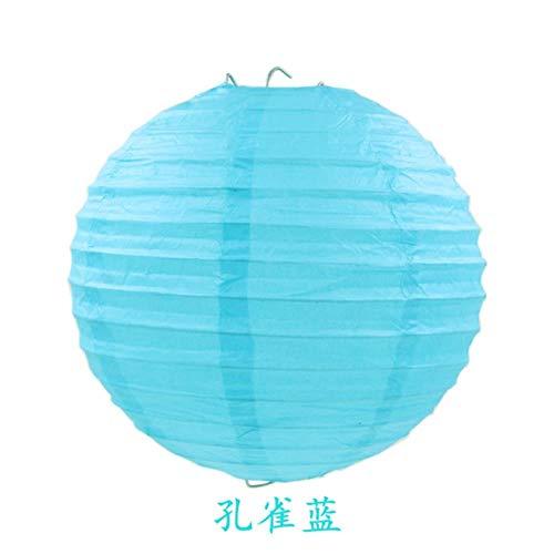 TTYAC 4-16inch (10-40cm) Chinesische Papierlaterne Runde Lampe Festival Lampion Hochzeit Glim Lampen Partydekoration Halloween-Laternen, Pfaublau, 14inch 35cm