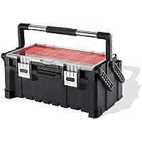Keter 17187311 - Caja de herramientas (plástico), color rojo y plateado