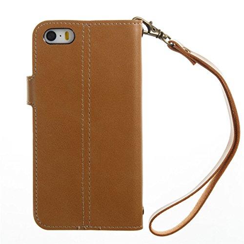 Étui en cuir pour iPhone 5s, Lifetrut [Machines à sous en carte] Étui de Portefeuille en Cuir élégant Flip Folio en cuir avec Boucle Latérale et Doublure pour iPhone 5s [Rouge] E202-Khaki