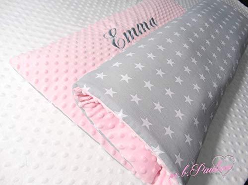 Weiße Sterne Babydecke grau Sterne Kuscheldecke Decke mit Name Sterne baby Bettdecke und Kissen Neugeburt Decke Personalisiert Neugeborene Decke rosa Babydecke