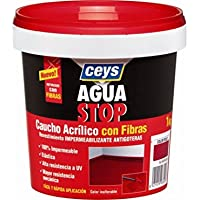 Ceys M92284 - Impermeabilizante aquastop caucho acrilico con fibras gris 1 kg