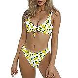 Yvelands Damen Bikini Set Retro Bademode hoch taillierte Bikini Neckholder Bikini Zweiteiliger Badeanzug Beachwear(CN-M,Gelb1)