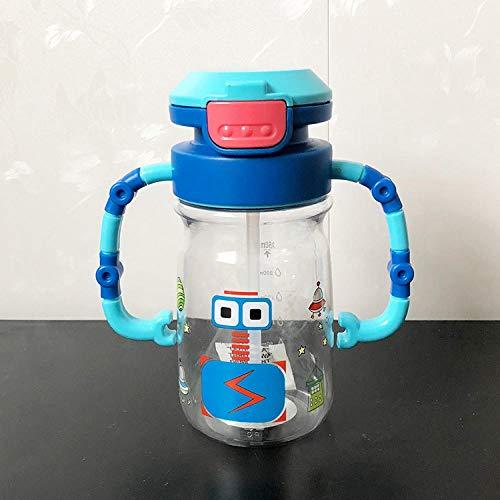 PengMu 450ml a Prova di perdite Bottiglia di Paglia Robot Cartoon Tazza di Bambino con Manico Formazione Bere Tazza a...