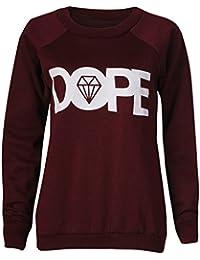 Mix lot de nouvelles dames Dope imprimer Sweat Femmes Top Jumper Diamant Imprimer ras du cou en molleton hiver Casual Wear Taille 36-42