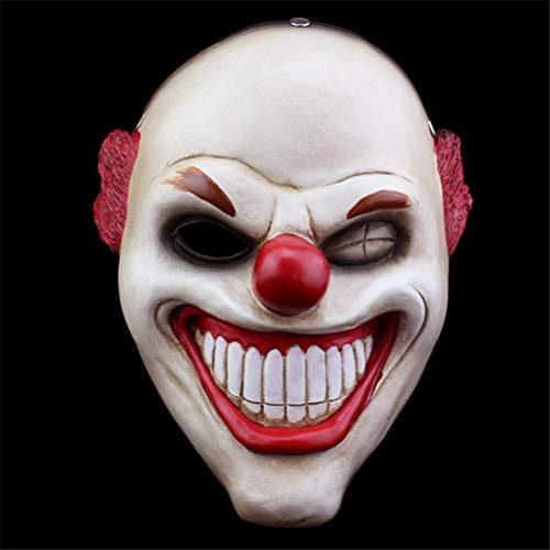 Tcbz Halloweenmaske aus Harz, Payday2, Sammlerausgabe, Spiel mit roter Nase, Clown, Horror-Maske (Horror Clown Kostüm Geschichte)