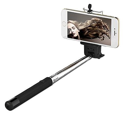 Perche Monopode, JETech® Bluetooth Selfie Stick Perche Déclencheur Monopode Pôle Autoportrait Bâton Réglable Télescopique avec Bluetooth intégré pour Apple iPhone 6/6 Plus/5/4, iPod, Samsung Galaxy S6/S5/S4/S3, Note 4/3/2 et plus