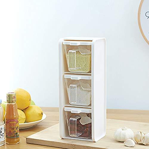 Ballylelly Cassetto Spice Jar Condimento Conservazione Organizer Contenitore per condimenti con Cucchiaio