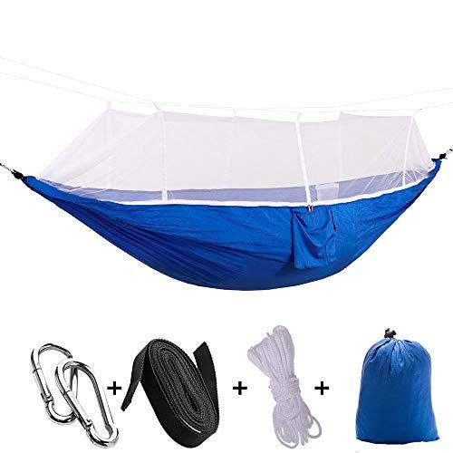 Dewanxin-ImFreien Ultraleichte Camping Hängematte mit Moskitonetz multifunktionale Outdoor Camping Hammock für 2 Personen, 100{71df48bf618832db62dd4ac34ec43a7925488959f2d7cb106dd769439f2e5415} Nylon Atmungsaktiv, extra-Breit 260 x 140cm, 200kg (Blau und Weiß)