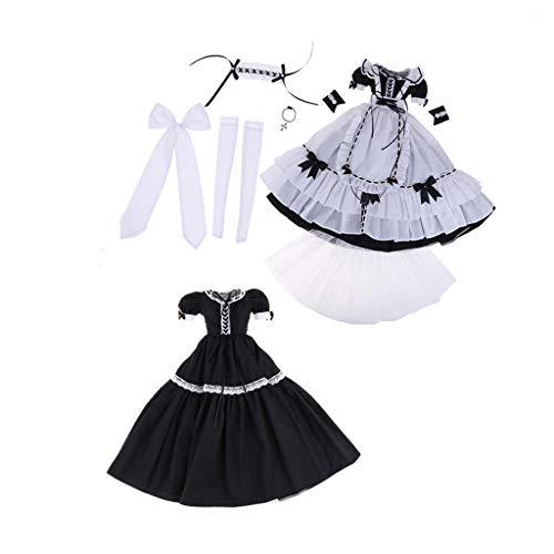 Perfeclan Modische Puppe Dienerin Uniform Dienstmädchen Cosplay Kostüm Kleidung Satz Für 1/3 BJD Mädchen Puppen - E (Kostüm Uniform Dienstmädchen)
