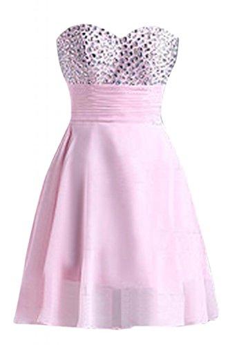 Sunvary senza spalline-Pantaloncini della linea Sweetheart Chiffon A-Line Cocktail Homecoming vestiti Pearl Pink