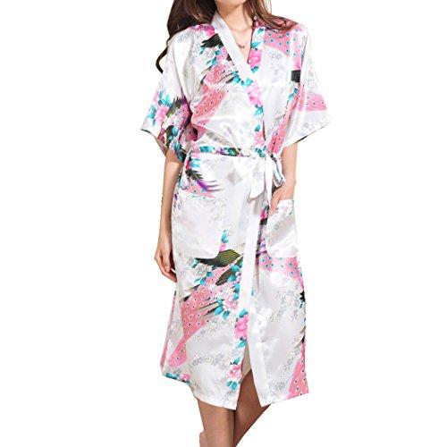 VENIMASEE Damen Peacock Seiden Satin Kimono Robe Morgenmantel -
