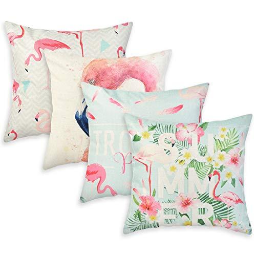 SearchI Confezione da 4 federe per Cuscino in Cotone e Lino, quadrate, per divani, Letti, SEDIE 45 x 45 cm fiammingo