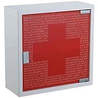 Design Medizinschrank Apothekerschrank Arzneischrank aus Edelstahl mit Satin Tür und rotem Loft Print preisvergleich bei billige-tabletten.eu