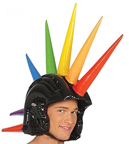 shoperama Aufblasbarer Irokesen Helm mit bunten Stacheln Party lustig Dornen 80er 90er ()