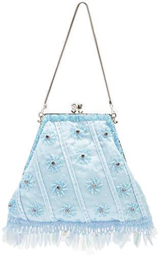 Fermaglio per borsa da sera, in stile vintage, con perline in raso e strass, colore: azzurro