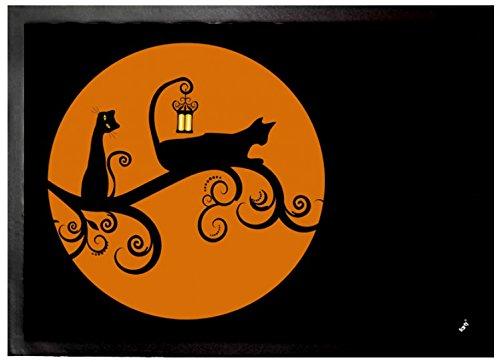 Felpudos Gatos Negros En La Noche De Luna Llena Felpudo Alfombrilla (7