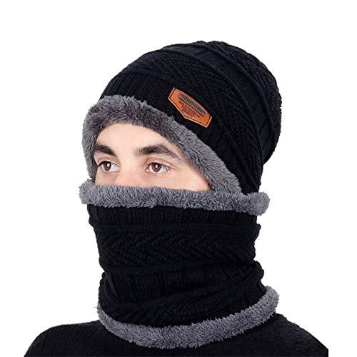 Kata Berretto Uomo Invernali Cappello Beanie in Maglia Sciarpe da Sci con Sciarpa  Cappello Passamontagna Nero 15379c1dc89a