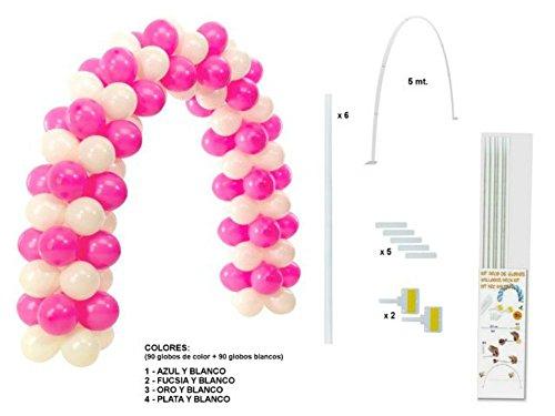 Kit estructura - Arco (90 globos color + 90 globos blancos)Colores. Juguetes y Regalos Baratos para Fiestas de Cumpleaños, Bodas, Bautizos, Comuniones y Eventos. (1-Azul y Blanco)