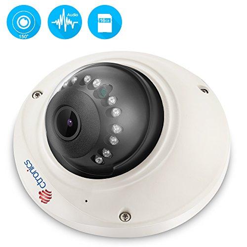 (Fisheye)Überwachungskamera,Ctronics Drahtlose Dome IP Kamera HD 720p,WiFi WLAN Kamera,Nachtsicht,Bewegungserkennung,Email Alarm,PC,Web,Telefon,Tablet,CMS,Audio,150°,vorinstallierter 16GB SD-Karte