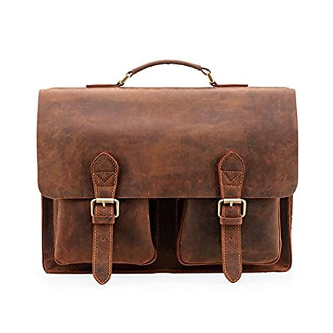 Kattee Real Leather Laptop Satchel Briefcase Shoulder Handbags for Men