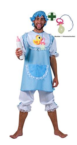aby Kostüm Herren Baby Herren-Kostüm blau-weiß Karneval Fasching mit Riesen-Schnuller blau Größe 52/54 (Halloween Baby Kostüme Für Erwachsene)