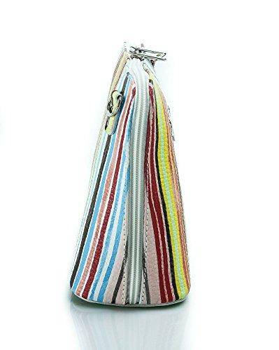 Vera Pelle Italiana Piccolo Croce Corpo Borsa o borsa a tracolla Purple Small Stripy Multi Colours White