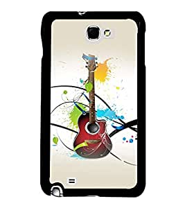 Fuson Premium 2D Back Case Cover Stylish Guitar With Red Background Degined For Samsung Galaxy Note 2::Samsung Galaxy Note 2 N7100