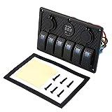 fgjhfghfjghj 5PIN Dual Lamp 6 Gang Rocker Switch Control Panel Cigarette Lighter Socket LED Light Circuit Breakers for Car Boat