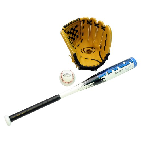 LOUISVILLE SLUGGER ALLOY BAT  BALL AND GLOVE - BATE DE BEISBOL ( GUANTE  JUVENIL  26  (66 04 CM) )   COLOR BLANCO