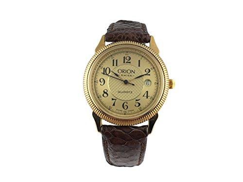Reloj Suiza Orion, clásico, chapado en oro, pulsera piel marrón