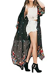 Cárdigans para Mujer Florales, Cardigans Mujer Primavera Verano Tallas Grandes Largo Kimono de Gasa Suelta Cárdigan Extragrande con Flecos Chales Wraps Tops Outerwear Jersey