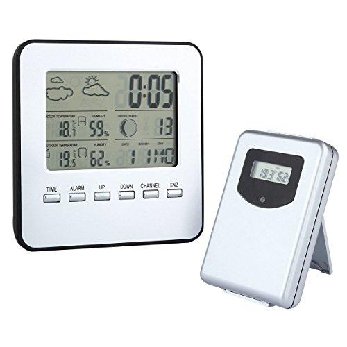 GuDoQi® LED Station Météo Sans Fil Digita Thermomètre Extérieur Intérieur Hygromètre Anself Multi-Fonctionnel Humidimètre Date Réveil