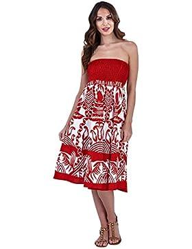 Pistachio, Vestido con falda corta para vacaciones de verano de algodón dos en uno para mujeres