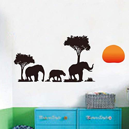 ALXCHD Elefante Camina En El Bosque Bajo El Sol Poniente Adhesivo De Pared De Bricolaje Calcomanías De Vinilo Extraíbles Para La Sala De Estar De Fondo Dormitorio