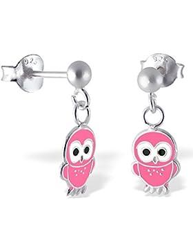 JAYARE Kinder-Ohrstecker Eulen 925 Sterling Silber Emaille 19 x 6 mm rosa pink Ohrringe