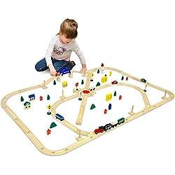 eyepower Tren de Madera + Ferrocarril + Accesorios 140x110cm | 6m de vía férrea | 96 piezas | extensible ampliable combinable juego creativo
