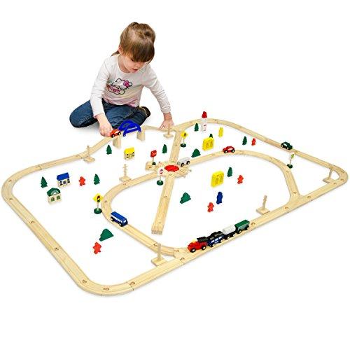 eyepower Trenino di Legno + Linea Ferroviaria + Accessori 140x110cm | ca 6m di binari per treno | 96 pezzi | infinitamente espandibile combinabile gioco creativo
