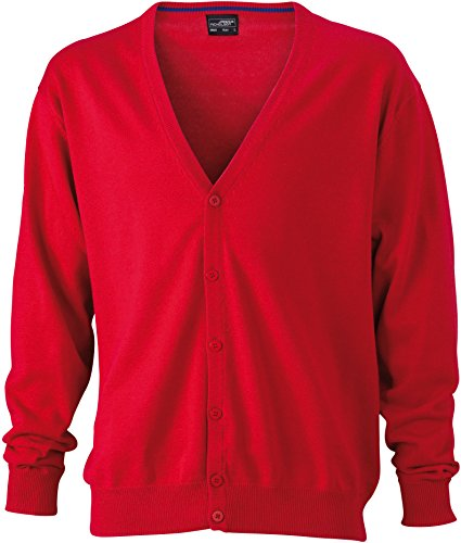 V-neck Cardigan Jacke (Men's V-Neck Cardigan - Herren Cardigan mit V-Neck XXL,Red)