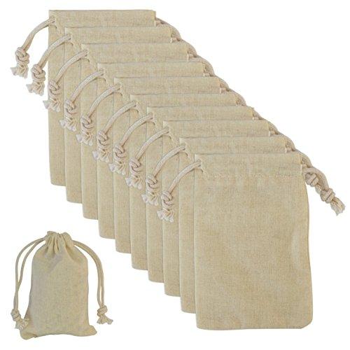 Canvas Taschen mit Draht Elastische Kordel Geschenktaschen Geschenk Beutel für eine Hochzeit und Fertigkeit DIY, 7x11cm (2,7x4,3 inch), Lot von 20 von Ishua (Sand Fett Make Up)