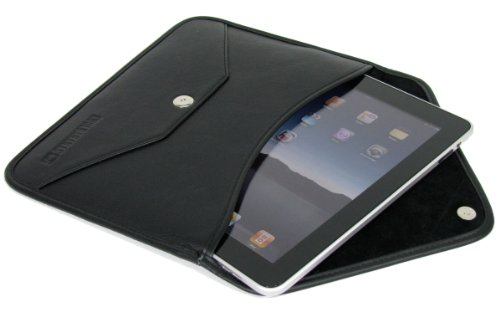 COOL BANANAS Envelope Tasche | Briefcase Slim für iPad Pro 12.9 in Klassischer Brief-Form | Hülle aus hochwertigem Kunstleder | Passgenau und edel | Business-Case für Sie und Ihn | Farbe Schwarz (Aktentasche Brief Bag)
