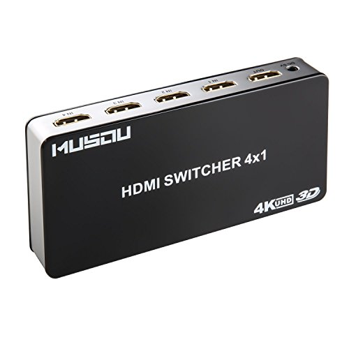 Musou HDMI Switch 4x1 (4 entradas 1 salida) Inteligente Mini HDMI Splitter Conmutador Switcher para TV Computers Blu-Ray PS3 PS4 Xbox etc. Soporte PIP 3D Audio HD y hasta 4K con IR Remoto