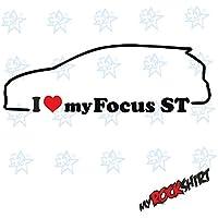 2 x i love my Ford Focus MK3 St aprox. 15 x 5 cm silueta.