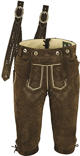 Trachtenlederhose Herren- Damen Kniebundlederhose -Trachten Lederhose mit Träger in Braun- Trachtenhose Knielang aus echt Leder Velours (42, Braun)