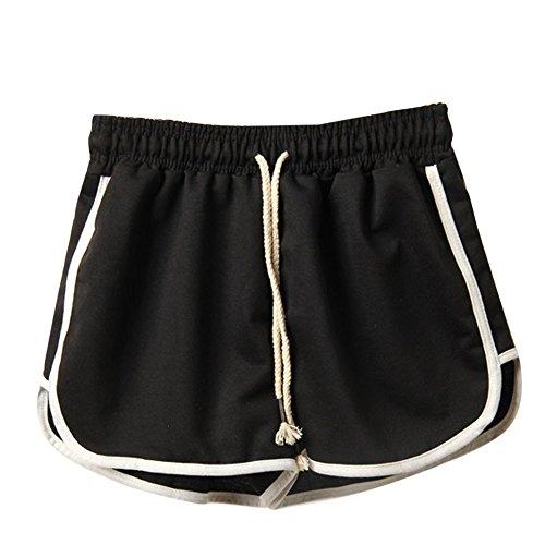 Damen Trainieren Kurze Hose Sport Gym Shorts mit Kordelzug Taillenband Strand Hot Pants Sommer Aktiv Yoga Tanz Eignung Workout Jogging Stil Baumwolle Hosen Plus Größe (Schwarz, M)