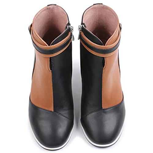 RTRY Chaussures femmes de similicuir PU Confort Nouveauté Automne Hiver Bottes Bottines Talon bout rond chaussures/Boots Buckle pour partie &; Beige US8.5/EU39/UK6.5/CN40 ubb81s