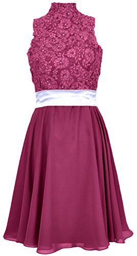 MACloth Women High Neck Lace Chiffon Short Prom Dress Cocktail Party Formal Gown Weinrot