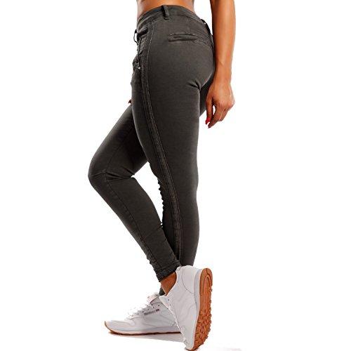 Damen Skinny Jeans Slim-Fit Regular Waist mit Glitzersteifen an den Seitennähten Anthrazit