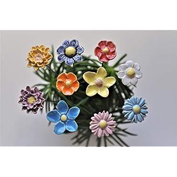 10 Keramikblumen, gemischt bunt – ca. 2,0 bis 3,0 cm von SylBer-Ceramics aus Markkleeberg