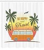 Abakuhaus Duschvorhang, Retro Surf VW T1 Bus mit Palms Camping Relax Hippie Reisen Klassiker 60Er Thematisier Druck, Blickdicht aus Stoff inkl. 12 Ringen Umweltfreundlich Waschbar, 175 X 200 cm